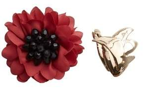 Violeta BY MANGO Metallic flower brooch