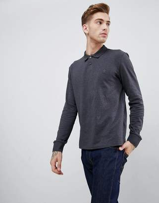 Original Penguin chunky rib mouline long sleeve polo slim fit embroidered logo in dark gray marl