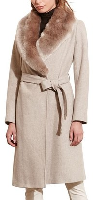 Women's Lauren Ralph Lauren Faux Fur Collar Wool Blend Long Wrap Coat $390 thestylecure.com