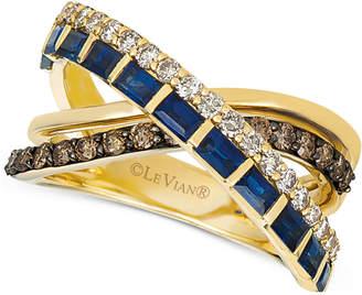 LeVian Le Vian Sapphire (1 ct. t.w.) & Diamond (3/4 ct. t.w.) Crisscross Ring in 14k Gold