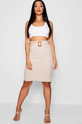 boohoo Mock Horn Buckle Midi Skirt