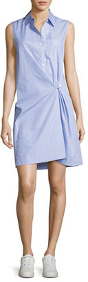 Theory Lenmana Taff Striped Cotton Sleeveless Shirtdress, Blue $315 thestylecure.com