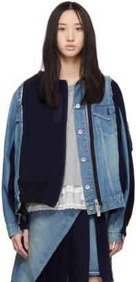 Sacai (サカイ) - Sacai ブルー ベルベット デニム X アンカット ジャケット