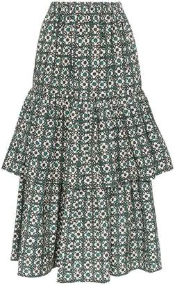 Golden Goose Miranda floral check tiered midi skirt