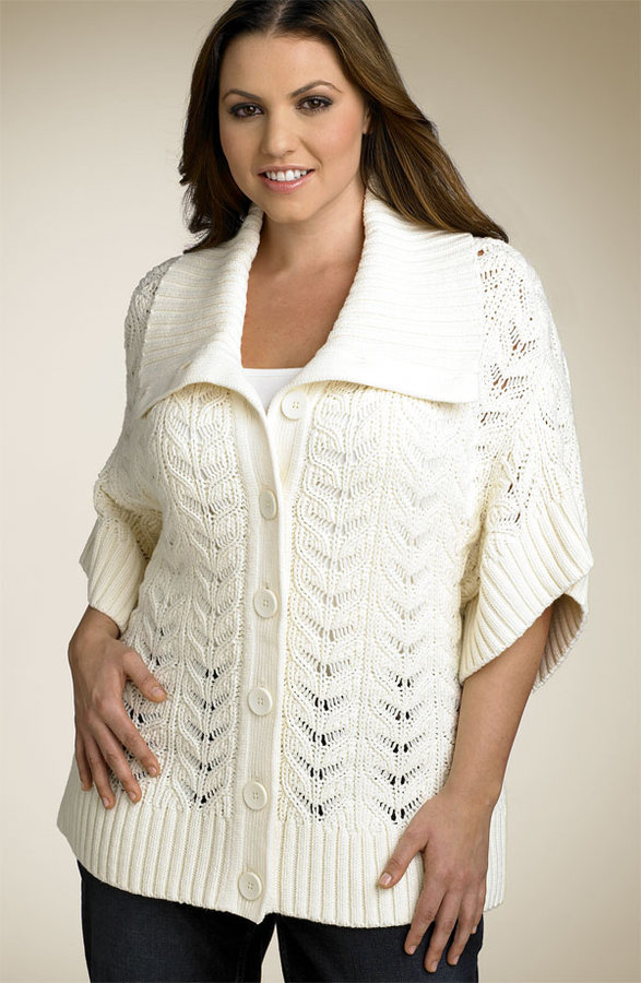 Caslon® Kimono Sleeve Cable Knit Cardigan (Plus)