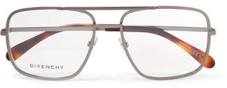 Givenchy Aviator-style Stainless Steel Optical Glasses - Gray