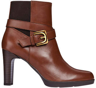 Geox Annya Mid Block Heel Ankle Boots, Brown Leather