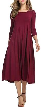 Herose Ladies Solid Color Crewneck 3/4 Sleeve Pleated Flare Hem Long Dress XL