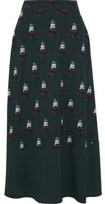 Markus Lupfer Printed Crepe Midi Skirt