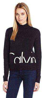 Calvin Klein Jeans Women's Cropped Logo Mock Turtleneck Sweater $69.50 thestylecure.com