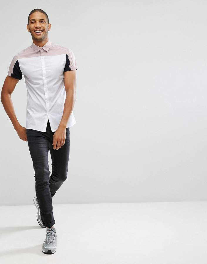 Asos Skinny Fit Cut And Sew Shirt With Pink And Black Panels