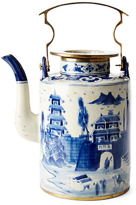 "One Kings Lane 13"" Great Wall Teapot - Blue/White"