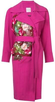 Ungaro floral appliqué belted coat
