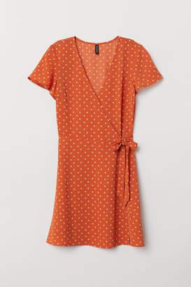 H&M Patterned Wrap-front Dress - Orange