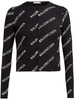 Balenciaga Logo Print Ribbed Cardigan - Womens - Black White