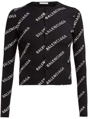 Balenciaga Logo Print Ribbed Cardigan - Womens - Black White