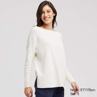 Uniqlo WOMEN Cotton Cashmere Boxy Boat Neck Long Sweater