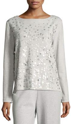 Joan Vass Luxe Cotton Interlock Sequin-Front Top, Petite