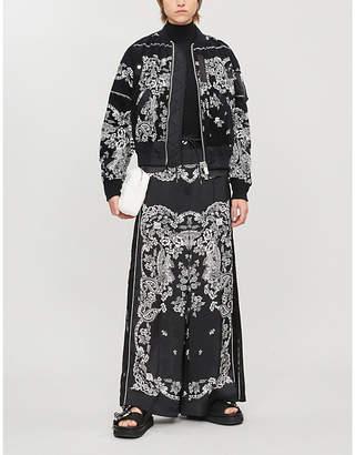 Sacai Paisley-print layered cotton-blend cord jacket