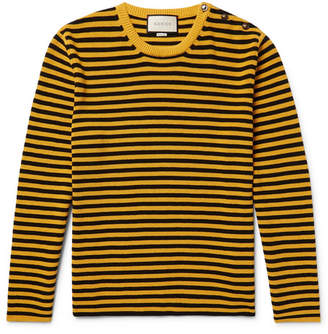 Gucci Button-Embellished Striped Cotton Sweater