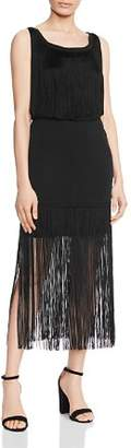 Haute Hippie Backstage Fringe Midi Dress
