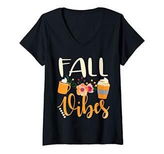 Womens Fall vibes pumpkin spice floral cute autumn pumpkin latte V-Neck T-Shirt