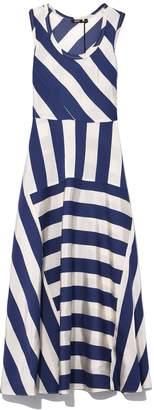 Aspesi Paneled Long Stripe Dress in Blue/White