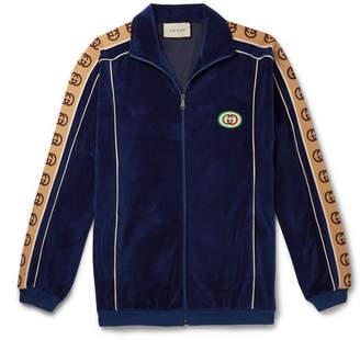 Gucci Oversized Logo-Appliqued Webbing-Trimmed Piped Velvet Track Jacket - Men - Blue