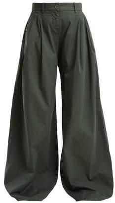 Nili Lotan Seville Wide Leg Stretch Cotton Trousers - Womens - Green