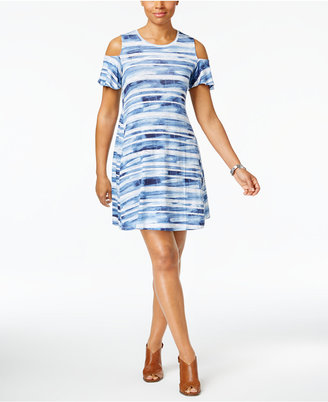 Style & Co Cold-Shoulder Flutter-Sleeve Dress, Created for Macy's $49.50 thestylecure.com