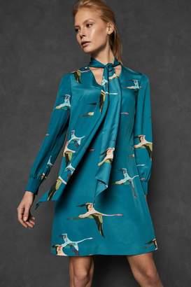 Next Womens Ted Baker Teal Bird Print Dress