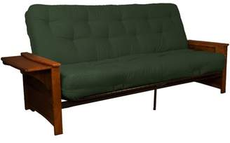 LOFT Comfort Style Bayview Attached End Table True 8-inch Cotton/Foam Futon Sofa Sleeper Bed, Full-size, Walnut Arms, Twill Huntergreen