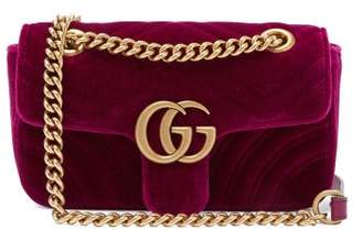 0fa02e5194a78b Gucci Gg Marmont Mini Quilted Velvet Cross Body Bag - Womens - Purple