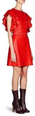 Alexander McQueen Short Ruffle Leather A-Line Dress
