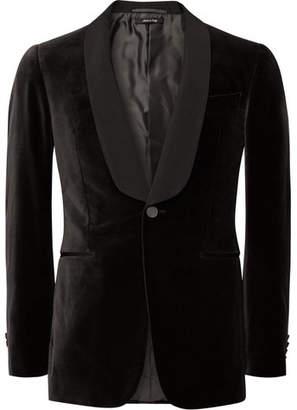 Dunhill Dark-Brown Slim-Fit Grosgrain-Trimmed Cotton-Velvet Tuxedo Jacket