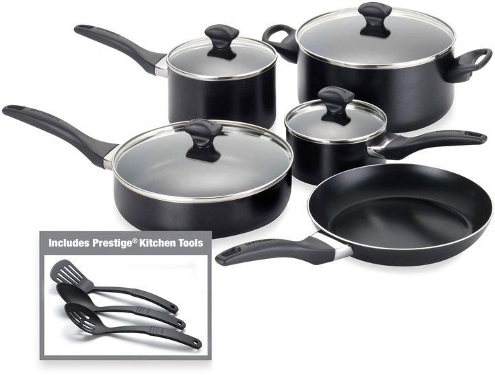 Farberware Aluminum Nonstick 12-Piece Cookware and Skillet Sets - Black