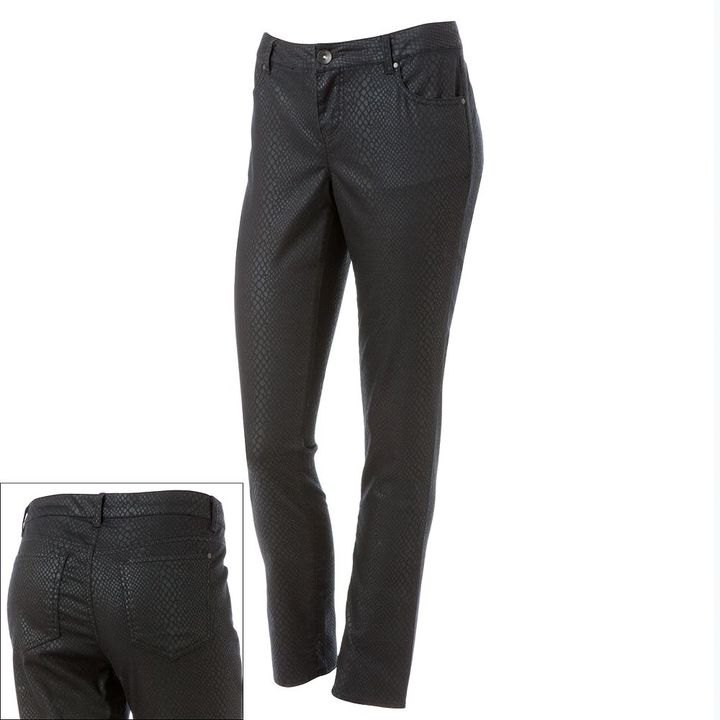 Apt. 9 snakeskin coated skinny jeans