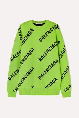 Balenciaga Oversized Intarsia Cotton-blend Sweater - Green