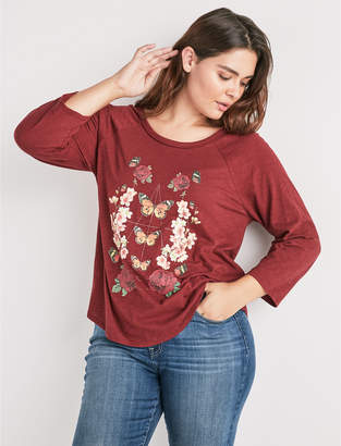 Lucky Brand BUTTERFLY FLORAL TEE