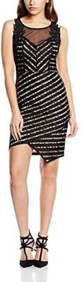 Lipsy Women's Lace Asymmetric Dress, (Black/Neutral)