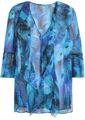Elie Tahari Ruffled Printed Silk Blouse