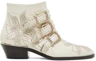 Chloé White and Silver Susanna Boots