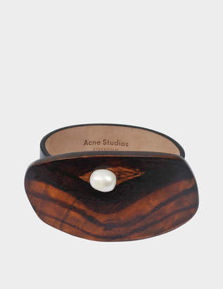 Acne Studios Erin Bracelet in Black Leather and Wood