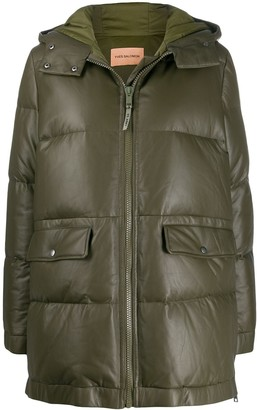 Yves Salomon Army leather puffer coat
