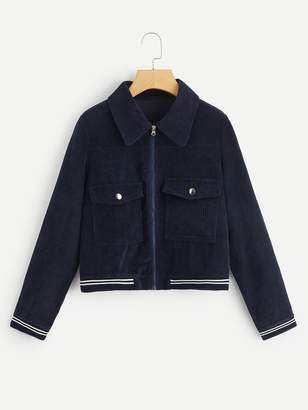Shein Corduroy Pocket Detail Striped Zip-up Jacket
