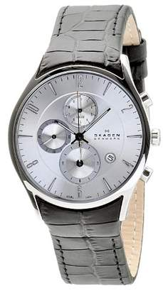 Skagen Men's 329XLSLC Dial Chronograph With Black Leather Band Watch