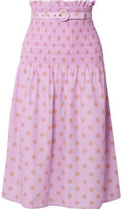 Nicholas Belted Shirred Polka-dot Cotton And Silk-blend Midi Skirt - Lavender