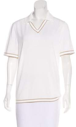 Hermes V-Neck Polo Top