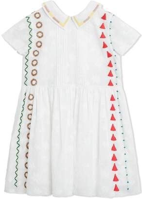 6c7ed0f6c81 Burberry Peter Pan Collar Embroidered Cotton Dress