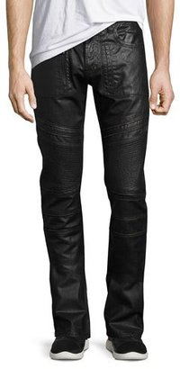 PRPS Demon Double Star Coated Moto Slim-Straight Jeans, Black $298 thestylecure.com